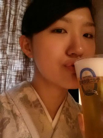 今板温泉 湯本舘の若女将、乾杯カンパイ♪2013.10.21