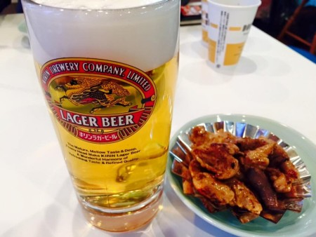 丸福ホルモンとビール